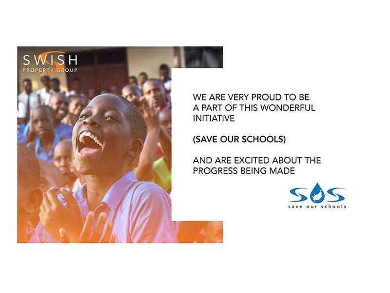Swish Co-founded initiative, SAVE OUR SCHOOLS, Handover water tanks to Zonnebloem Schools